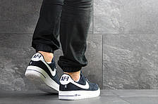 Кроссовки мужские Nike Air Force AF 1,замшевые,темно синие, фото 2