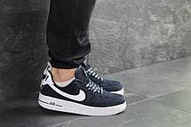 Кросівки чоловічі Nike Air Force AF 1,замшеві,темно сині, фото 2
