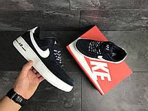 Кросівки чоловічі Nike Air Force AF 1,замшеві,темно сині, фото 3