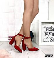 Туфли замшевые красные на каблуке с ремешком на щиколотке, фото 1