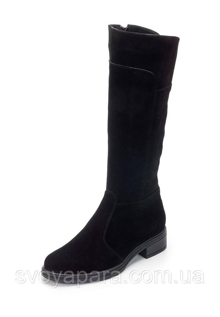 Женские демисезонные сапоги черные замшевые (100062)