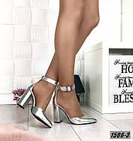 Туфли кожаные на каблуке с ремешком на щиколотке серебро, фото 1