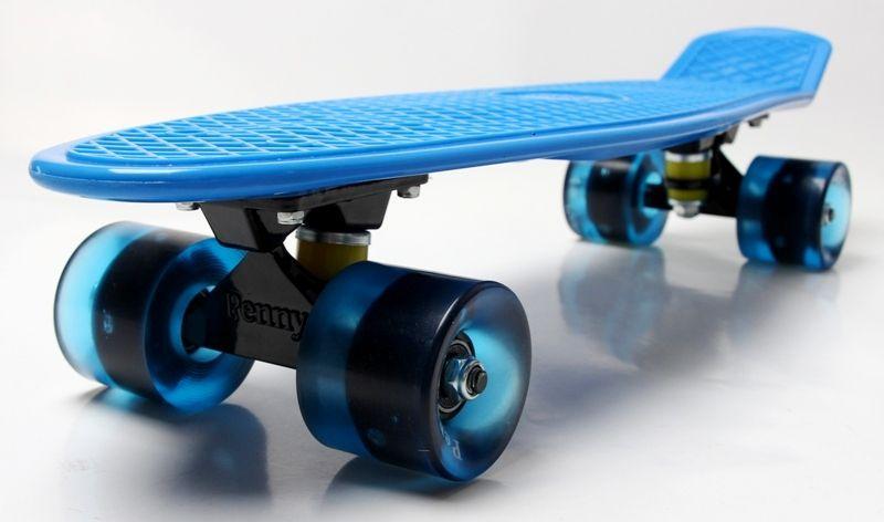 Penny Board. Blue. Гравировка. Светящиеся колеса.