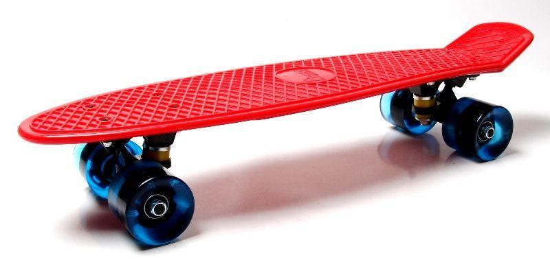 Penny Board. Red. Светящиеся синие колеса.
