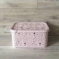 Ажурная корзина для хранения / 10л / 25см х 34.5см х 16см / розовая пудра