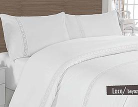 Постельное белье Altinbasak сатин люкс с кружевом Lace beyaz 200x220 евро