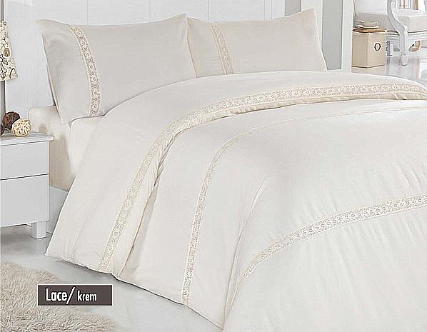 Постельное белье Altinbasak сатин люкс с кружевом Lace cream 200x220 евро