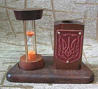 Настольный письменный прибор - песочные часы с подставкой для карандашей. Кабинетный офисный набор.