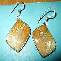 """Яркие серебряные серьги  с натуральным желтым кораллом """"Волна"""", фото 1"""