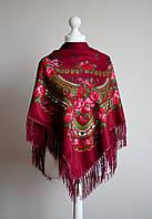 Платок шерстяной с бахромой (бордовый)