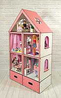 Домики для больших куколДомик «Большой Особняк Барби» + обои + шторки + мебель + текстиль + BOX высота этажа - 33 см, фото 1