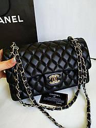 Женская сумка в стиле Шанель 2.55 фурнитура цвет серебро
