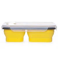 Ланчбокс складной силиконовый тройной (желтый), фото 1