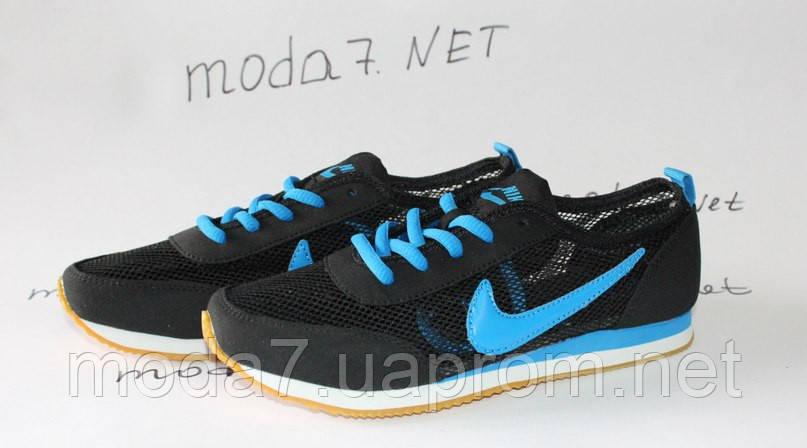 Кроссовки женские черные Nike сетка реплика