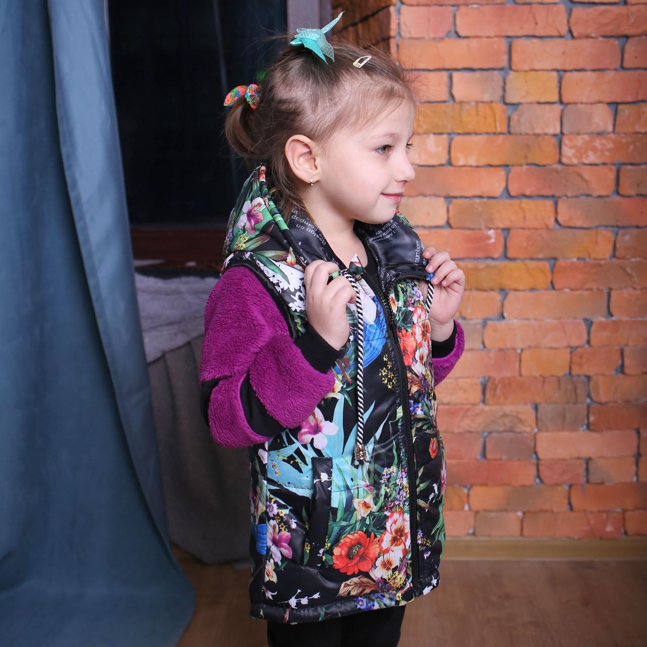 Жилет на синтепоне для девочки Детская жилетка с капюшоном