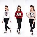 Модная короткая кофта с капюшоном на девочек Размеры 134 140 146, фото 4
