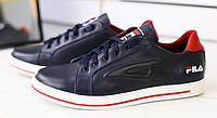 Кеды мужские FILA кожаные темно-синие с красным, фото 1