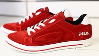 Кеды FILA замшевые красные с белым, фото 1