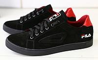 Кеды FILA замшевые черные с красным, фото 1