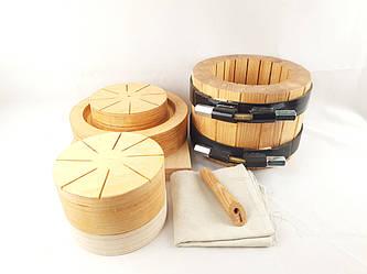 Ведро деревянное для масло пресса с насадками