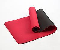 Коврик для йоги и фитнеса (йога мат) OSPORT Premium TPE+TC 183х61см толщина 6мм (FI-0076) красно-черный