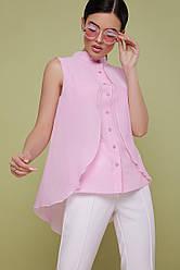 Розовая блузка без рукавов