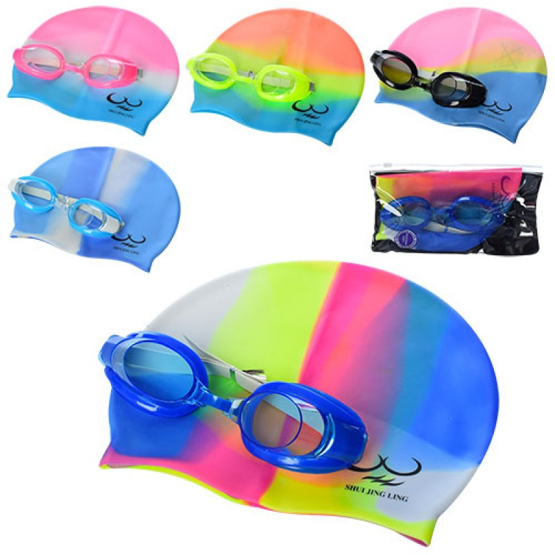 Яркий детский набор для плавания и ныряния - очки + шапочка, D25721