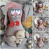 """Кролик с бабочкой """"Милашка"""", ручная работа, 19-20 см., 140/120 (цена за 1 шт. + 20 гр.)"""