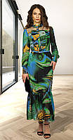Платье МиА Мода-1015 белорусский трикотаж, зеленые тона, 46