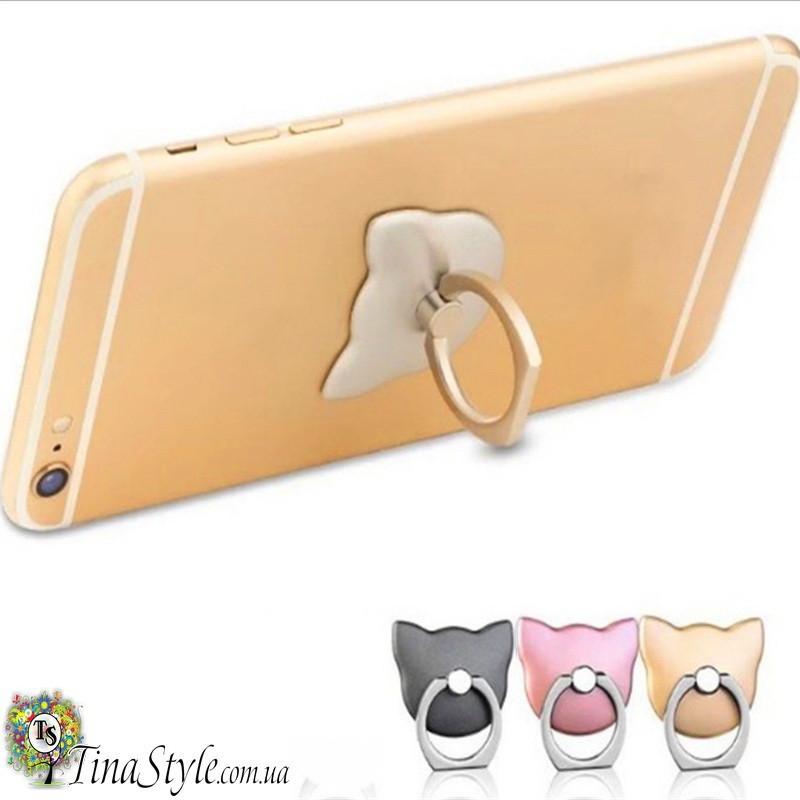 Держатель для телефона Кошка на палец 3 цвета PopSocket Попсокет кольцо попсокеты iPhone розовое золото черный