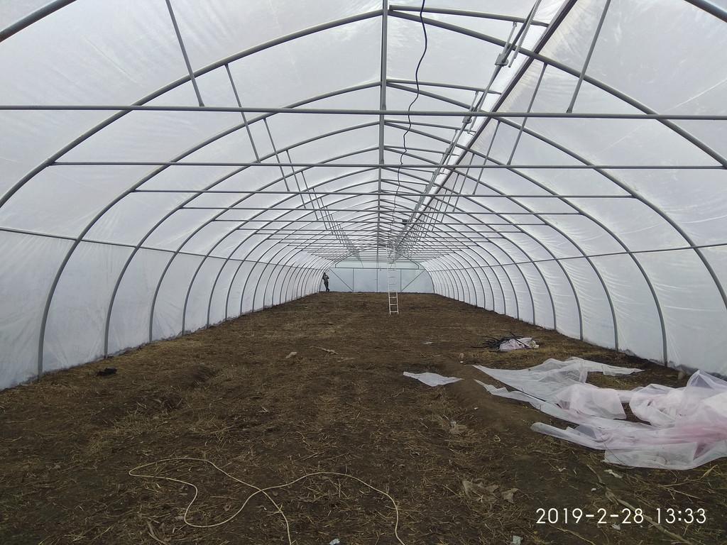Фермерская теплица с наддувом и верхним проветриванием изнутри