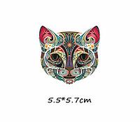 Термонаклейка Кот этно 1 шт, аппликация для одежды