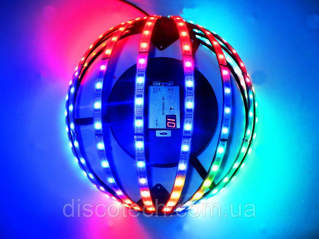Полусфера полюс-2, диам- 400мм, 10лучей, 16пикс/луч, шаг-32 (160пикс, 40W, БП-90W/5V-1шт)