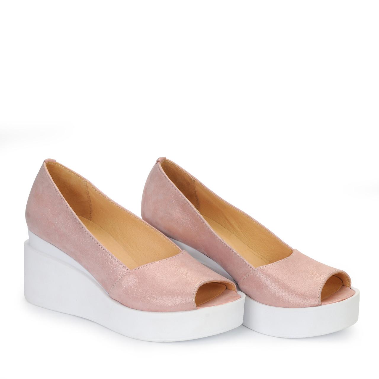 Женские кожаные туфли балетки босоножки на танкетке TIFFANY
