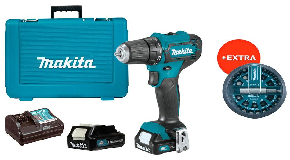 Аккумуляторный шуруповерт Makita DF333DWYEX + 2 акб 12 V 1.5 Ah + з/у + кейс + набор бит 28 шт (DF333DWYEX)