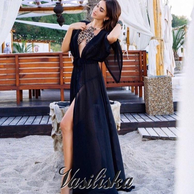 b4690de0a4663 Длинная пляжная накидка на купальник средний рукав - Интернет-магазин  одежды и обуви