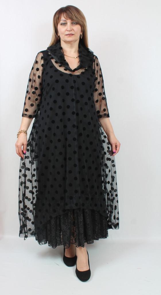 Длинное женское платье с сеткой в горох Турция, больших размеров 54-64