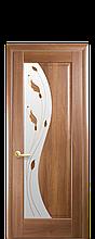 Дверное полотно Эскада Золотая Ольха со стеклом сатин с рисунком Р1