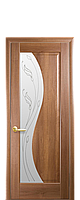 Дверное полотно Эскада Золотая Ольха со стеклом сатин с рисунком Р2