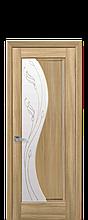 Дверное полотно Эскада Золотой Дуб со стеклом сатин с рисунком Р2