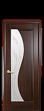 Дверное полотно Эскада Каштан со стеклом сатин с рисунком Р2
