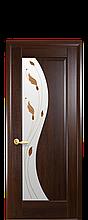 Дверное полотно Эскада Каштан со стеклом сатин с рисунком Р1