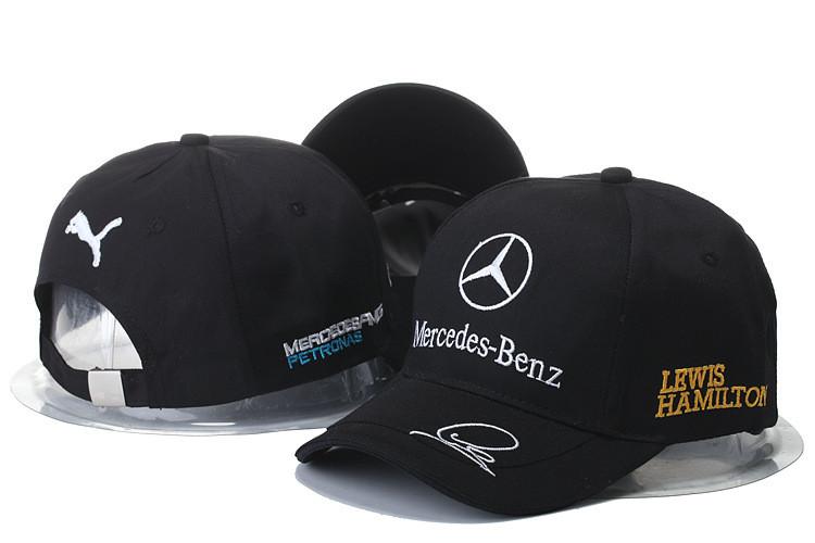 """Кепка бейсболка """"Mersedes-Benz автограф Lewis Hamilton"""" чёрная"""
