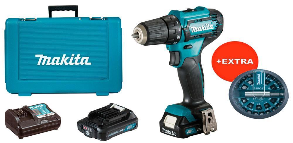 Аккумуляторный шуруповерт Makita DF333DWAE + 2 акб 12 V 2 Ah + з/у + кейс + набор бит (DF333DWAEX)