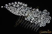 Металлический гребешок для волос с камнями чешское стекло, украшение на свадьбу(выпускной), два цветка