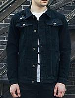 Мужская джинсовая куртка Staff black destroy , фото 1