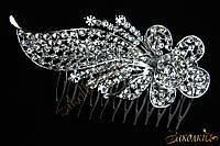 Металлический гребешок для волос с камнями чешское стекло, украшение на свадьбу(выпускной), цветок