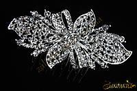 Металлический гребешок для волос с камнями чешское стекло, украшение на свадьбу(выпускной), цветок-бант