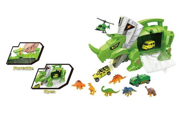 Ігровий набір DINOSAUR WORLD Dinosaur Receive Car динозавр-чемодан з машинками Зелений (SUN3604)