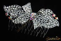 Металлический гребешок для волос с камнями чешское стекло, украшение на свадьбу(выпускной), бантик